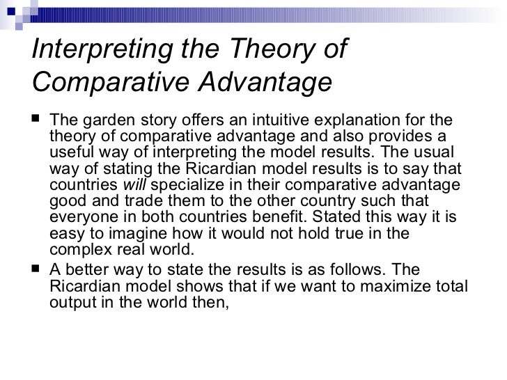 the theory of comparative advantage-essay Business: international trade and comparative international trade and comparative use the theory of comparative advantage to explain the.