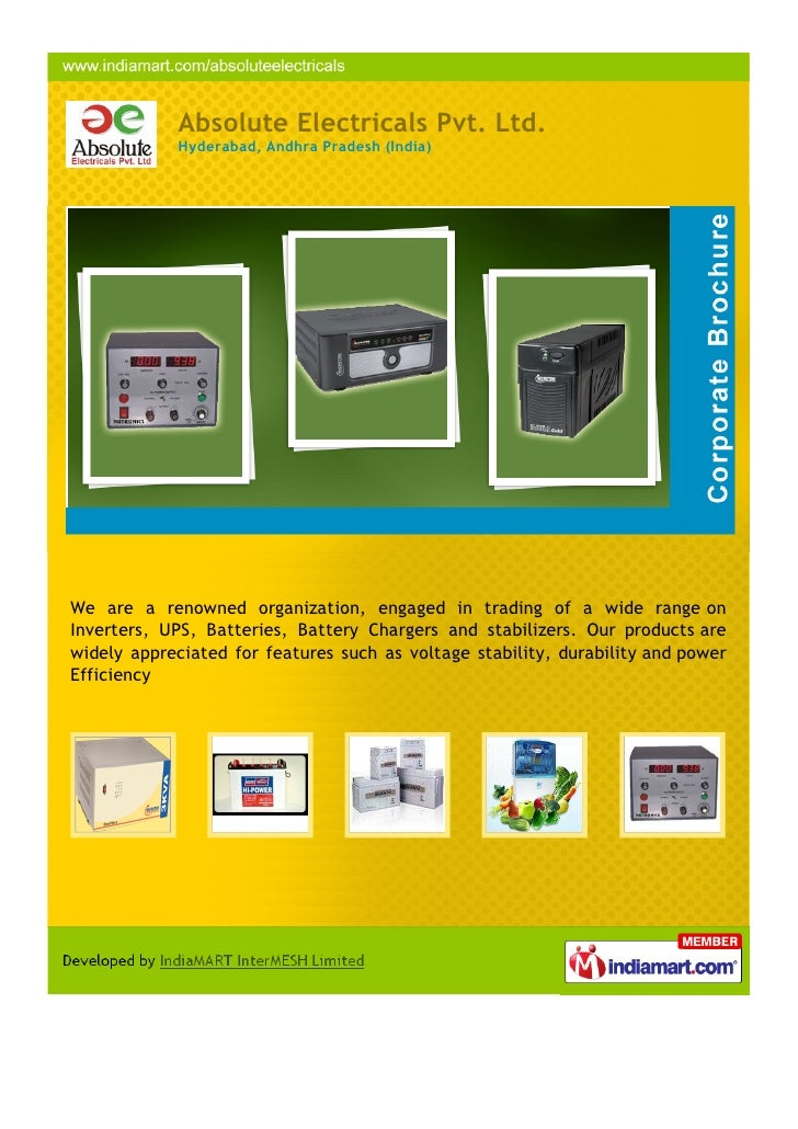 Absolute Electricals Pvt. Ltd.            Hyderabad, Andhra Pradesh (India)We are a renowned organization, engaged in trad...