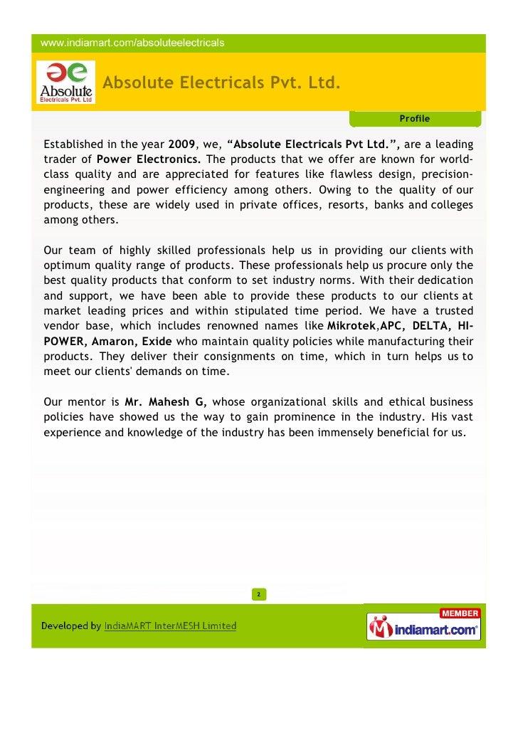 Absolute Electricals Pvt. Ltd., Hyderabad Slide 2