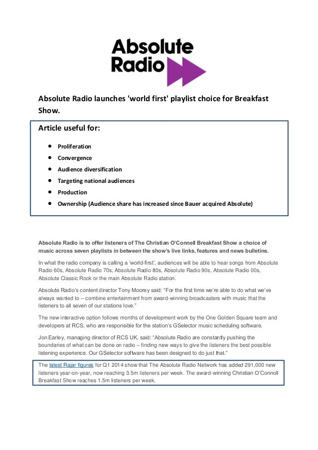 Absolute Radio launches 'world first' playlist choice for Breakfast Show. Article useful for:  Proliferation  Convergenc...