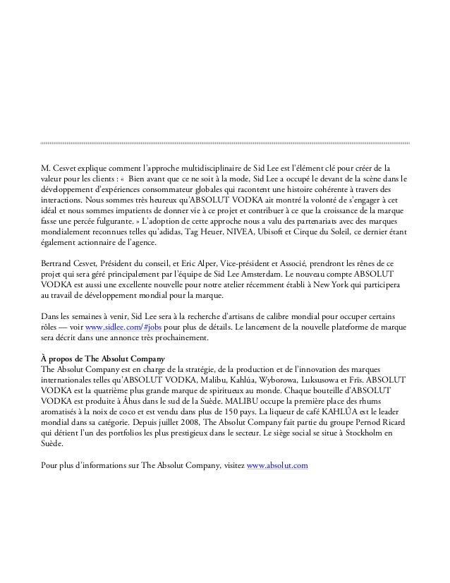 SID LEE   COMMUNIQUE DE PRESSE   ABSOLUT VODKA 2012 Slide 2