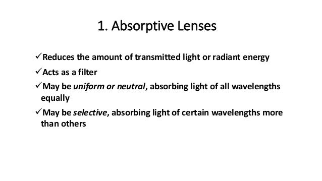 Absorptive lens, transmission and sunglass standards