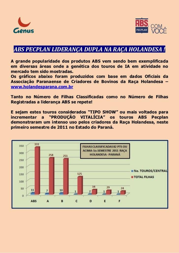 ABS PECPLAN LIDERANÇA DUPLA NA RAÇA HOLANDESA !A grande popularidade dos produtos ABS vem sendo bem exemplificadaem divers...