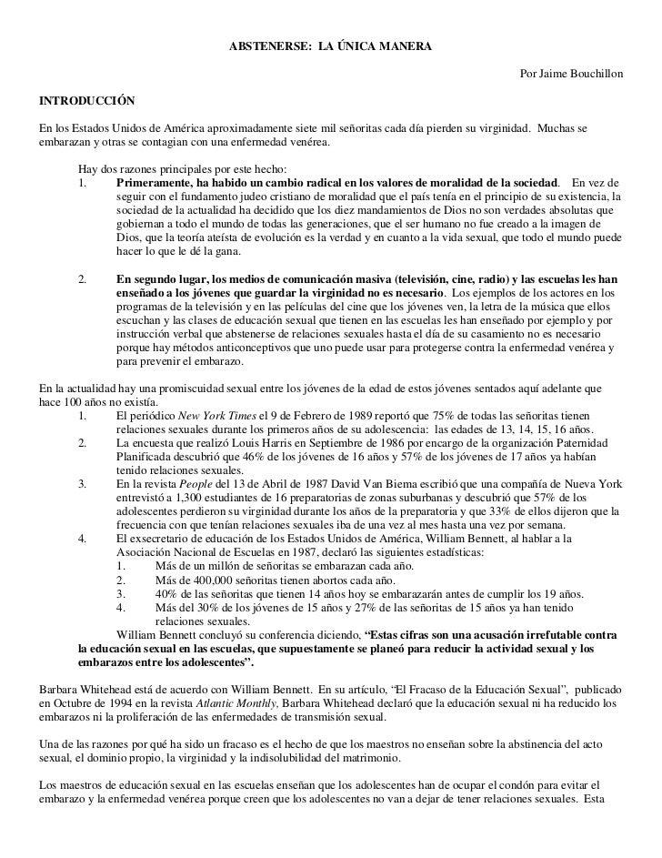 ABSTENERSE: LA ÚNICA MANERA                                                                                               ...