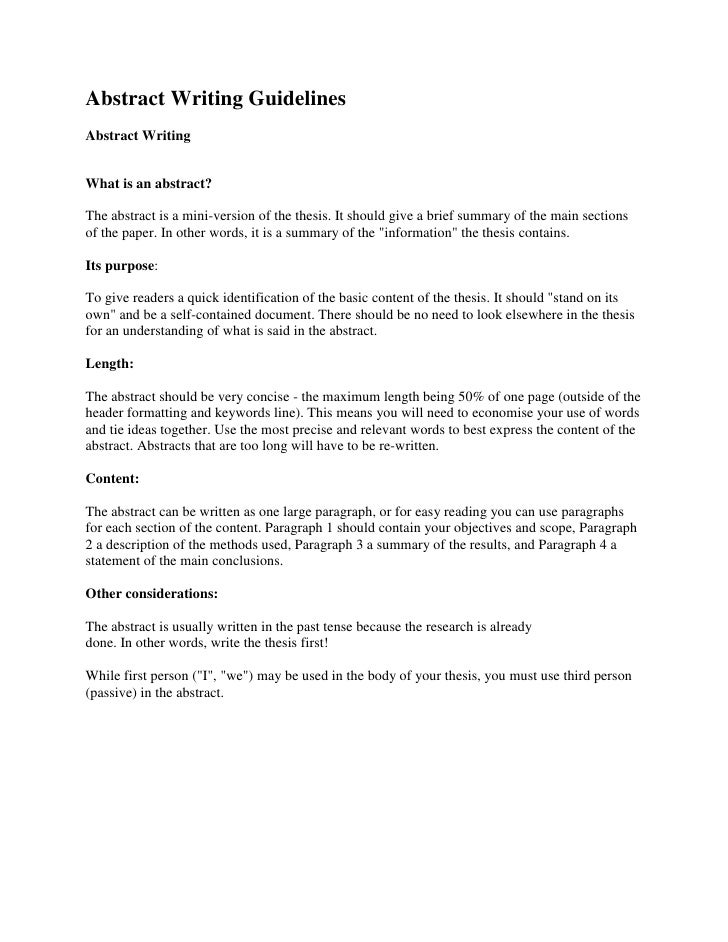 Abstract Writing Guidelines<br />Abstract WritingWhat is an abstract? The abstract is a mini-version of the thesis. It sh...