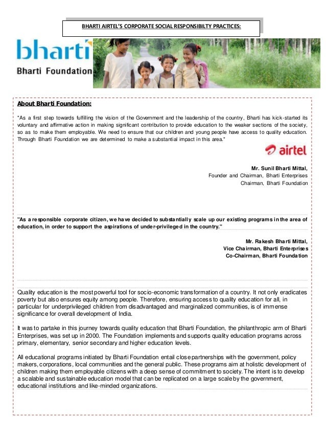 corporate environment bharti airtel Bharti airtel, a leading global telecommunications company with operations in 19 countries across asia and africa, has been ranked amongst the top five firms in corporate reputation in india.
