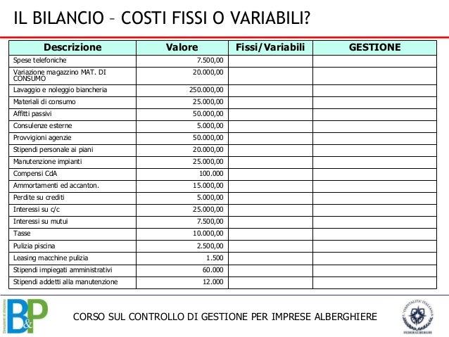 Corso controllo gestione federalberghi for Piani di coperta e costi