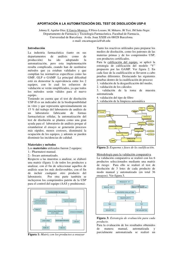 APORTACIÓN A LA AUTOMATIZACIÓN DEL TEST DE DISOLUCIÓN USP-II          Johnny E. Aguilar-Díaz, E Garcia-Montoya, P.Pérez-Lo...