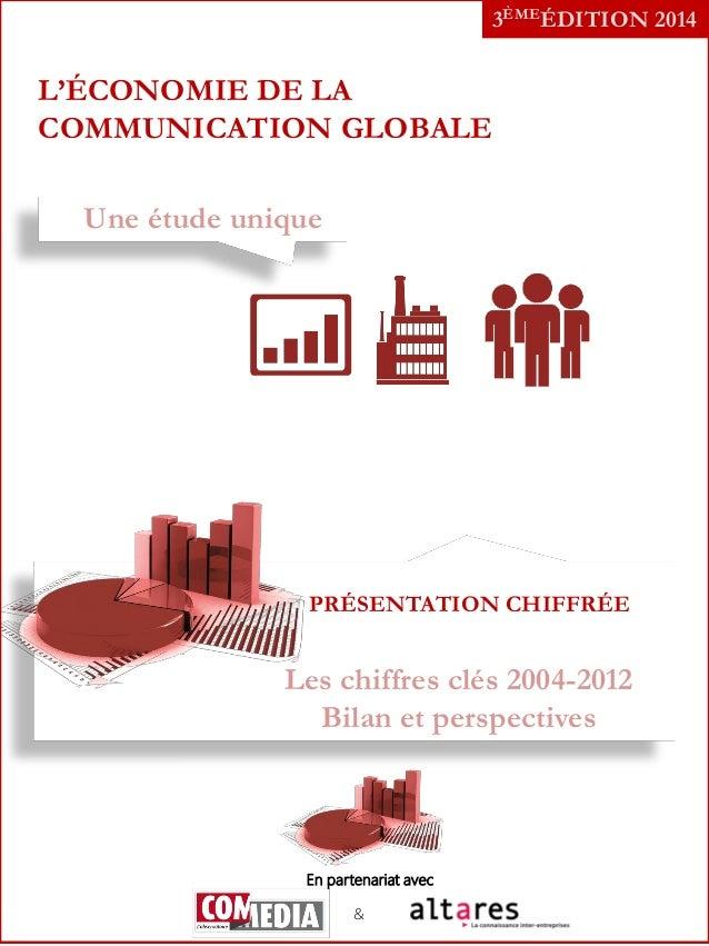3ÈMEÉDITION 2014  L'ÉCONOMIE DE LA COMMUNICATION GLOBALE Une étude unique  PRÉSENTATION CHIFFRÉE  Les chiffres clés 2004-2...