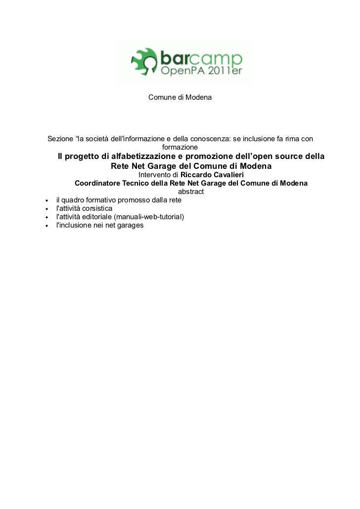 """Comune di ModenaSezione """"la società dellinformazione e della conoscenza: se inclusione fa rima con                        ..."""