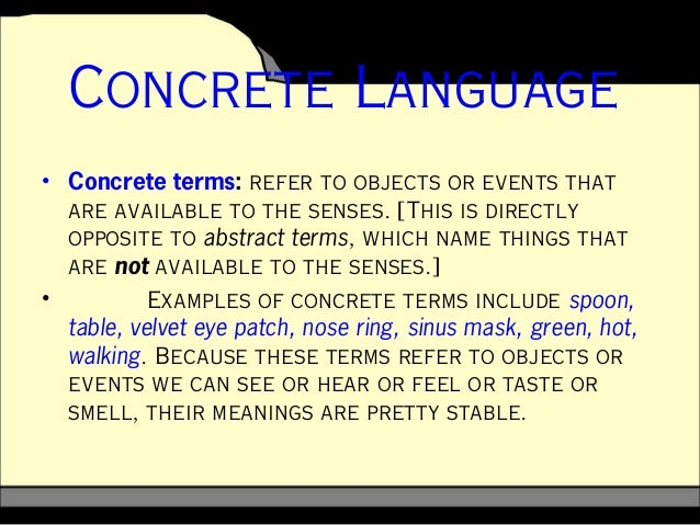 Abstract and concrete for Concrete diction