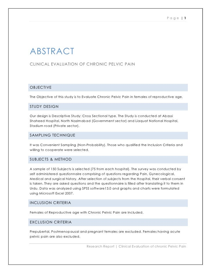 Page |1     ABSTRACT CLINICAL EVALUATION OF CHRONIC PELVIC PAIN     OBJECTIVE  The Objective of this study is to Evaluate ...