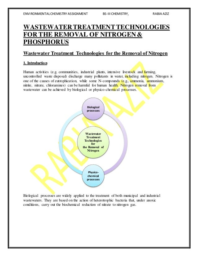 WASTEWATER TREATMENT TECHNOLOGIES FOR THE REMOVAL OF