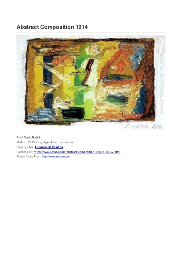 Abstract Composition 1914Artist: David BurliukMedium: Oil Painting Reproduction on CanvasShop by Style: Futurism Oil Paint...