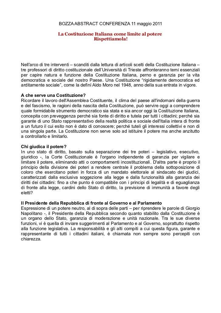 BOZZA ABSTRACT CONFERENZA 11 maggio 2011                    La Costituzione Italiana come limite al potere                ...
