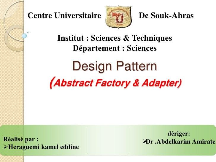 Centre Universitaire           De Souk-Ahras                Institut : Sciences & Techniques                     Départeme...