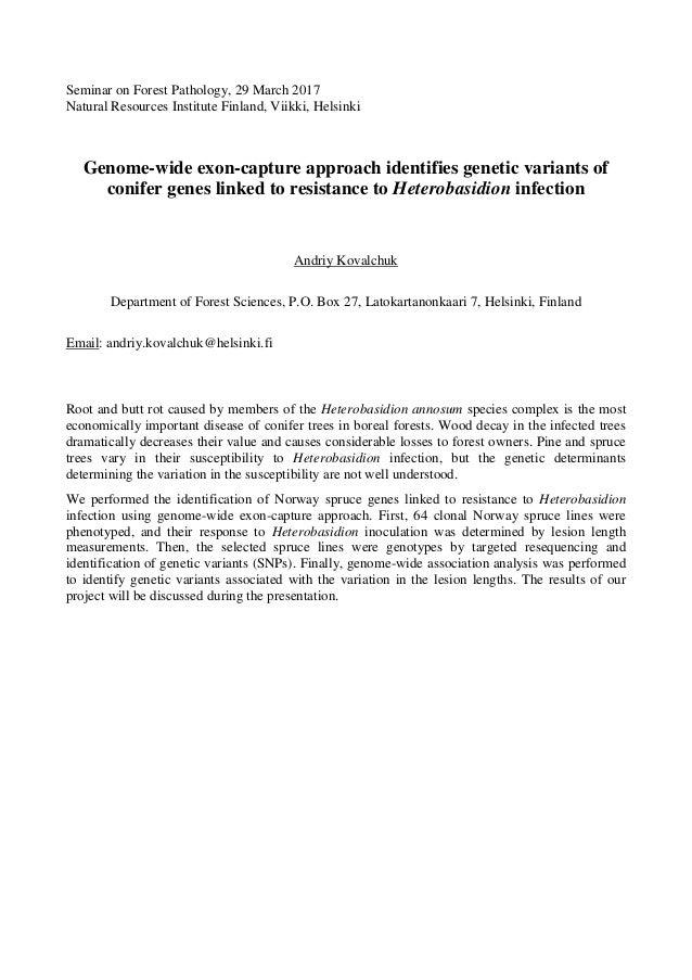 Andriy Kovalchuk (University of Helsinki): Genomic and exon-capture s…