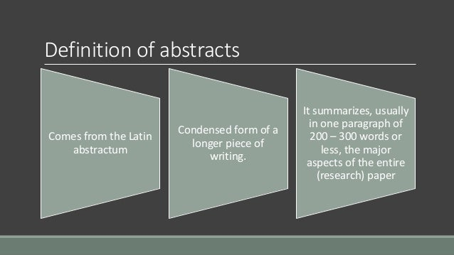 sample abstract for paper presentation