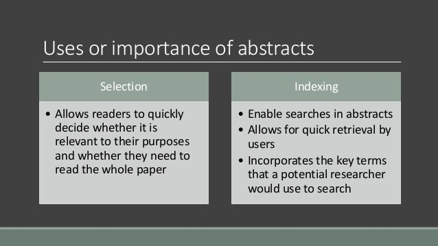 what is the abstract for a research paper How to write a scientific abstract a scientific abstract summarizes your research paper or article in a concise, clearly written way that informs readers about the article's content.