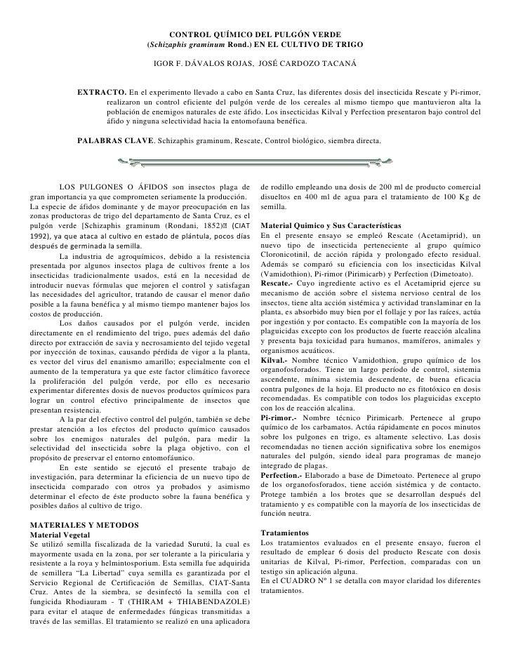 CONTROL QUÍMICO DEL PULGÓN VERDE                                   (Schizaphis graminum Rond.) EN EL CULTIVO DE TRIGO     ...