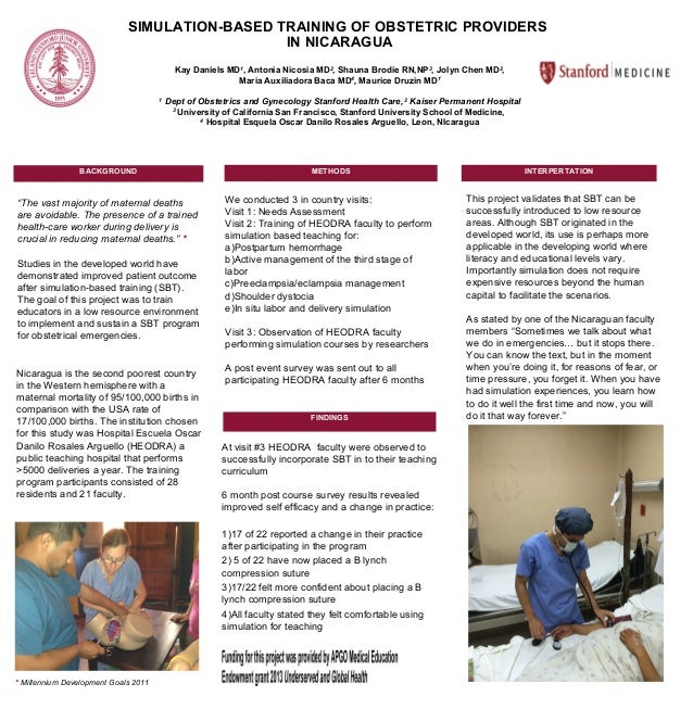 SIMULATION-BASED TRAINING OF OBSTETRIC PROVIDERS IN NICARAGUA Kay Daniels MD1 , Antonia Nicosia MD2 , Shauna Brodie RN,NP3...