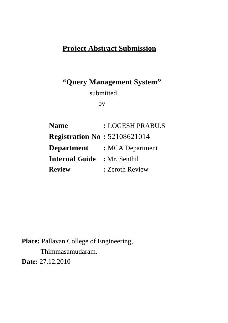 """Project Abstract Submission              """"Query Management System""""                       submitted                        ..."""