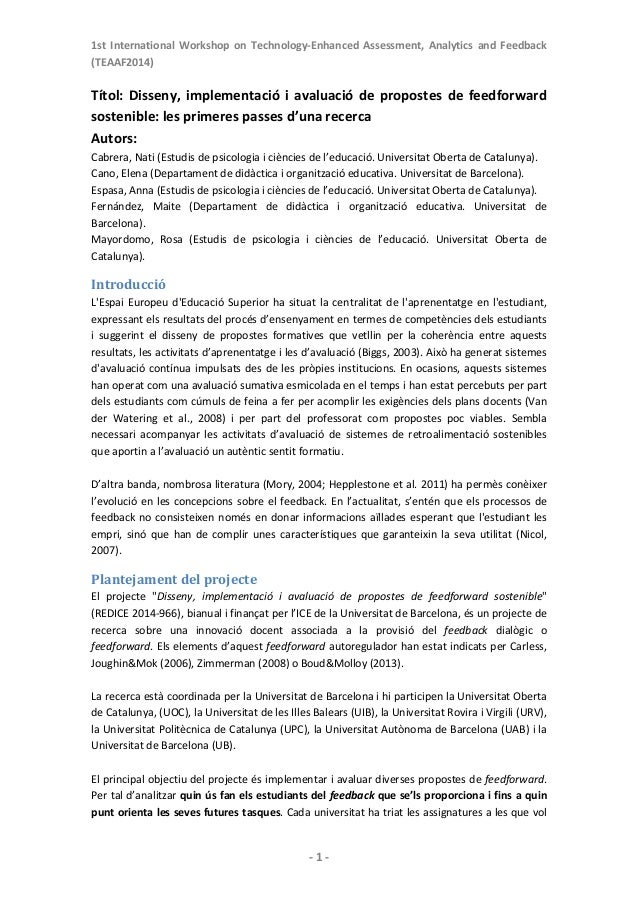 1st International Workshop on Technology‐Enhanced Assessment, Analytics and Feedback (TEAAF2014)   ‐1‐ Títo...
