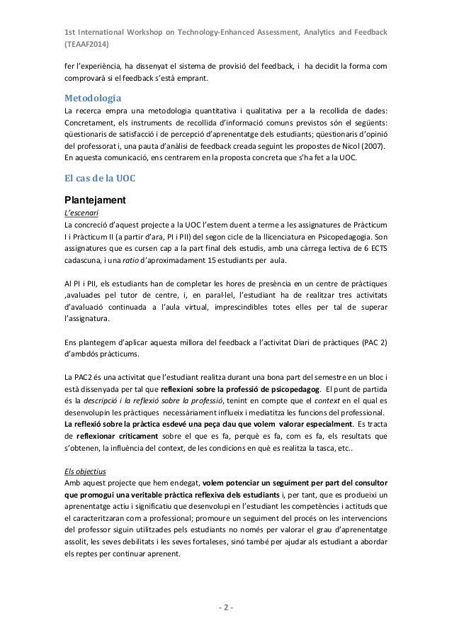 1st International Workshop on Technology‐Enhanced Assessment, Analytics and Feedback (TEAAF2014)   ‐2‐ fer...