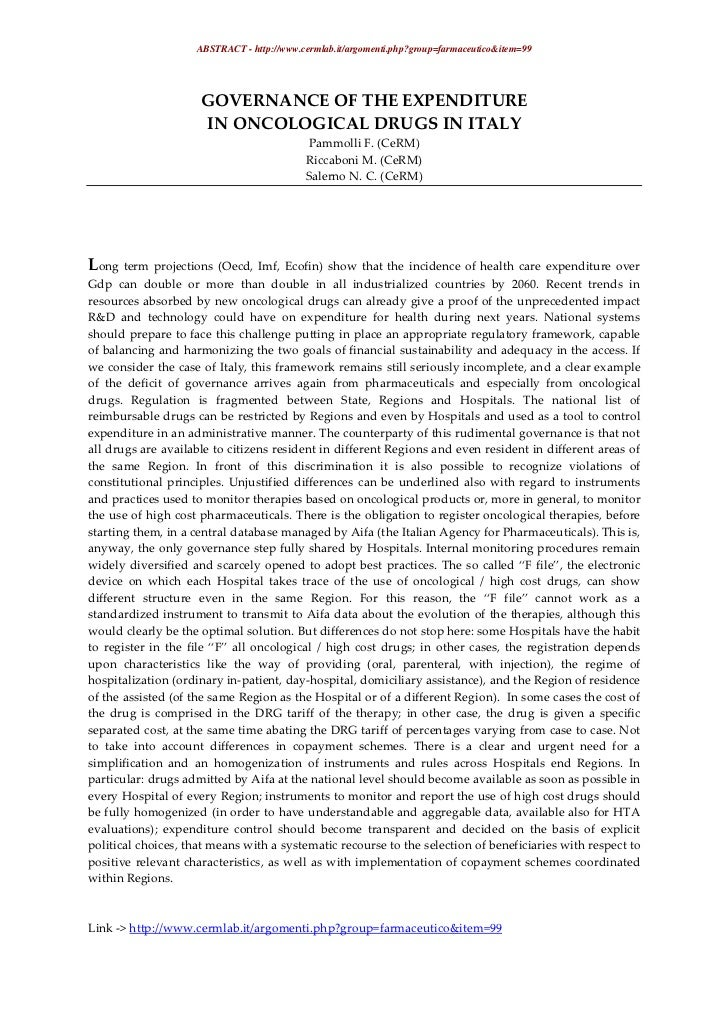ABSTRACT - http://www.cermlab.it/argomenti.php?group=farmaceutico&item=99                     GOVERNANCE OF THE EXPENDITUR...