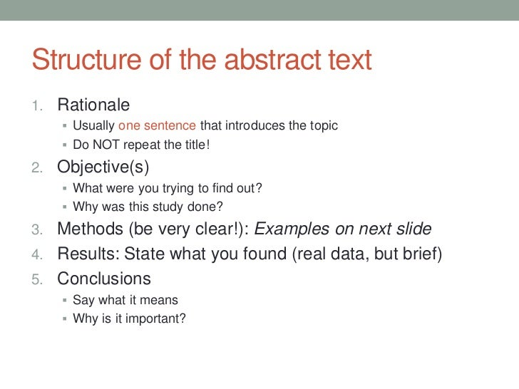 how to write a one page abstract structure of the abstract