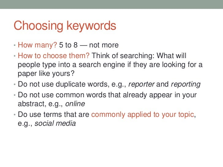 Thesis keywords example