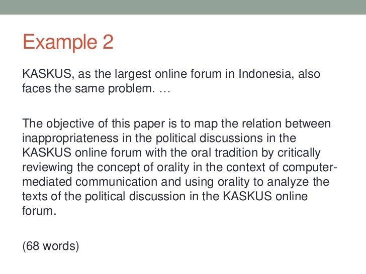 how to write a one page abstract example 2kaskus