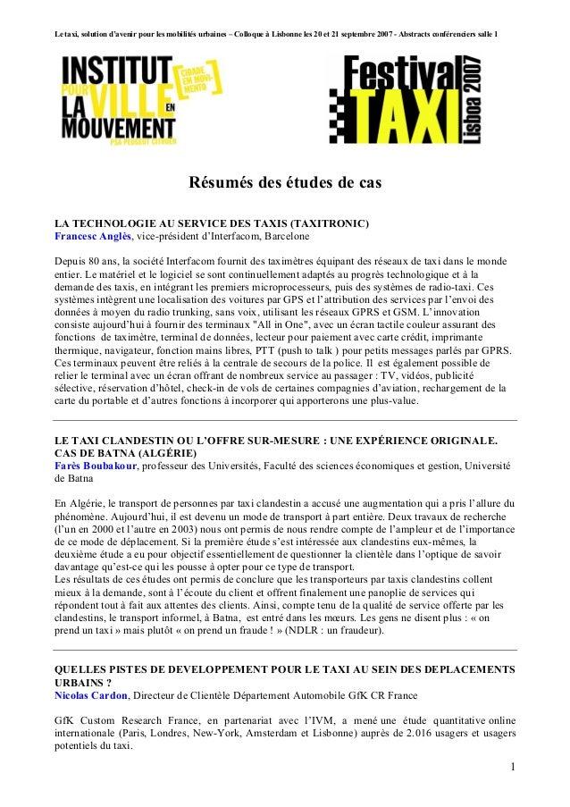 Le taxi, solution d'avenir pour les mobilités urbaines – Colloque à Lisbonne les 20 et 21 septembre 2007 - Abstracts confé...