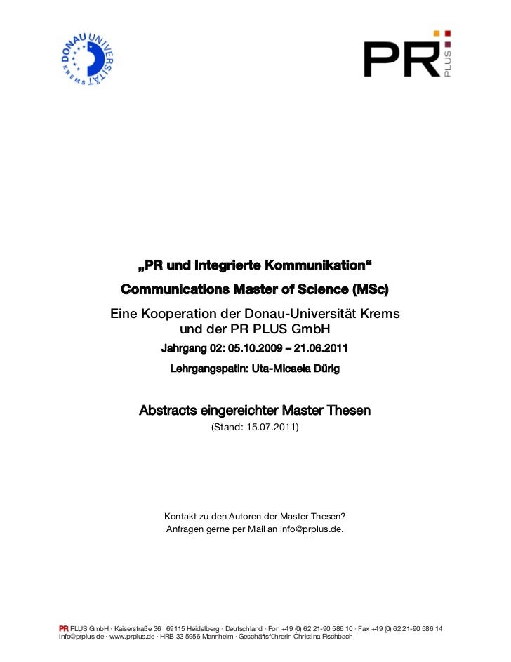 """PR und Integrierte Kommunikation""                   Communications Master of Science (MSc)                Eine Kooperatio..."