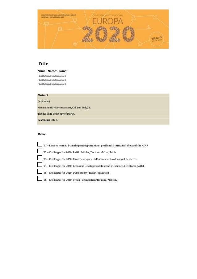 TitleName1, Name2, Name31   Institutional filiation, email2   Institutional filiation, email3   Institutional filiation, e...