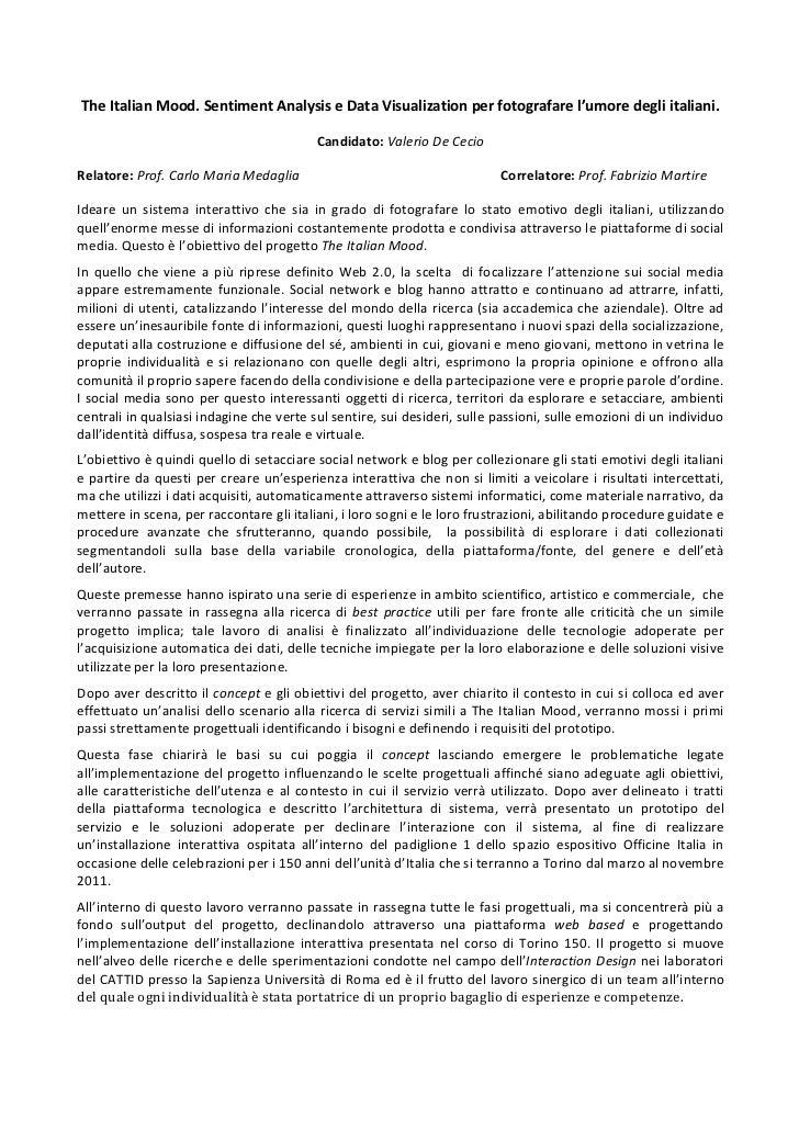 The Italian Mood. Sentiment Analysis e Data Visualization per fotografare l'umore degli italiani....