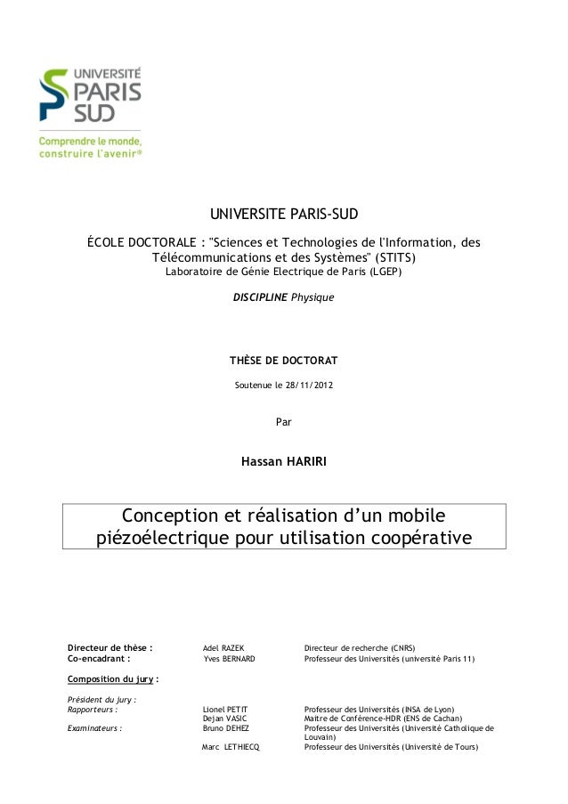 """UNIVERSITE PARIS-SUD     ÉCOLE DOCTORALE : """"Sciences et Technologies de lInformation, des              Télécommunications ..."""