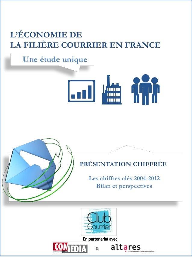 L'ÉCONOMIE DE LA FILIÈRE COURRIER EN FRANCE Une étude unique  PRÉSENTATION CHIFFRÉE Les chiffres clés 2004-2012 Bilan et p...