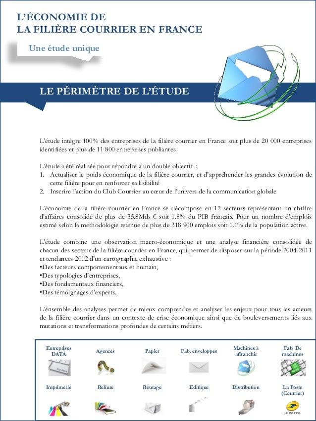 L'ÉCONOMIE DE LA FILIÈRE COURRIER EN FRANCE Une étude unique  LE PÉRIMÈTRE DE L'ÉTUDE  L'étude intègre 100% des entreprise...