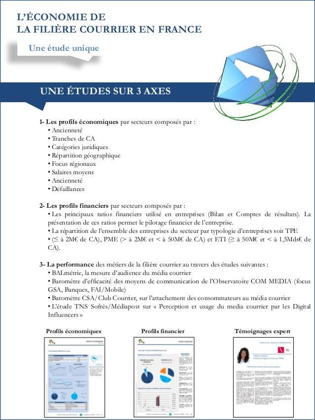 L'ÉCONOMIE DE LA FILIÈRE COURRIER EN FRANCE Une étude unique  UNE ÉTUDES SUR 3 AXES 1- Les profils économiques par secteur...