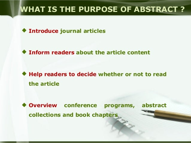 how to write a journal abstract