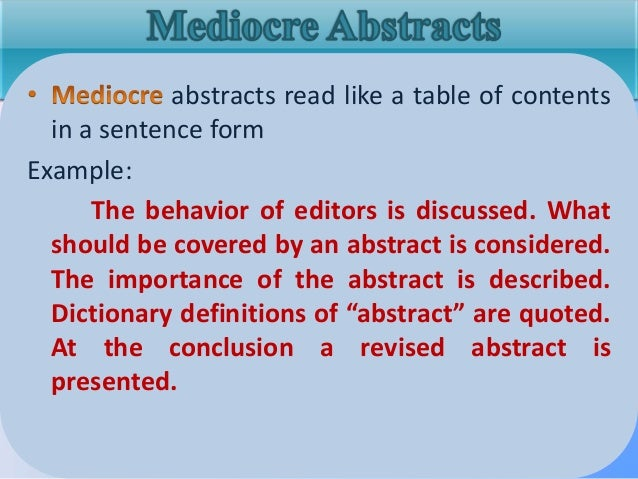 how to write an abstract psychology example