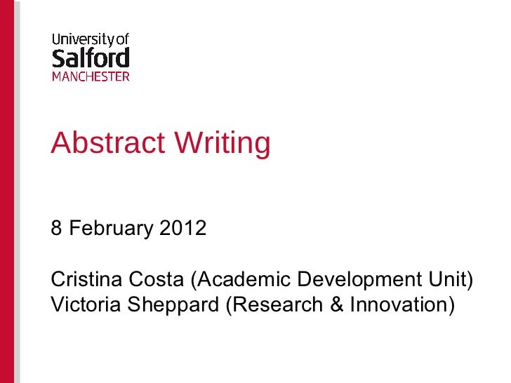 writing an abstract example Learn how to write an abstract for a scientific paper and see examples of phrases to avoid two forms of abstracts are described.