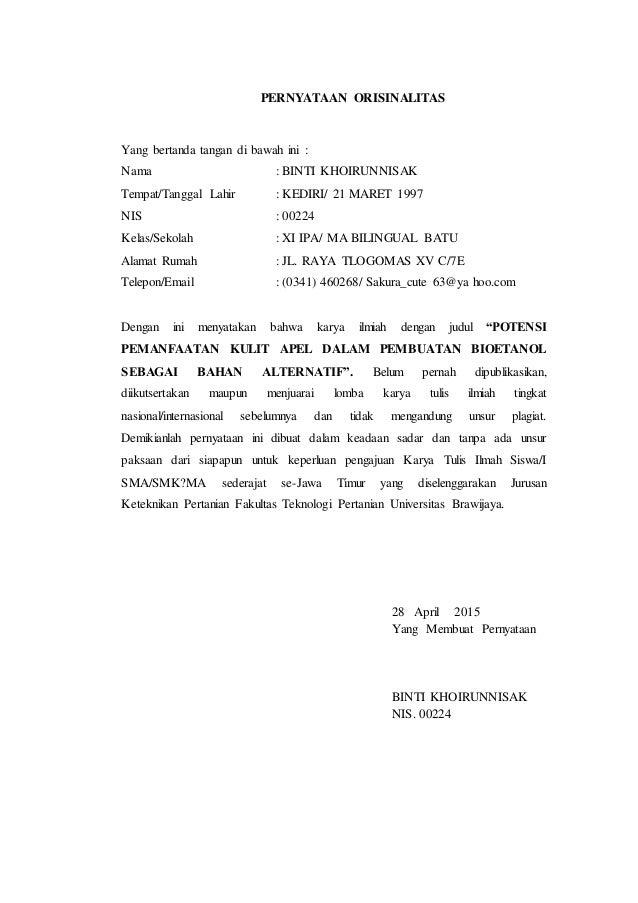 PERNYATAAN ORISINALITAS Yang bertanda tangan di bawah ini : Nama : BINTI KHOIRUNNISAK Tempat/Tanggal Lahir : KEDIRI/ 21 MA...