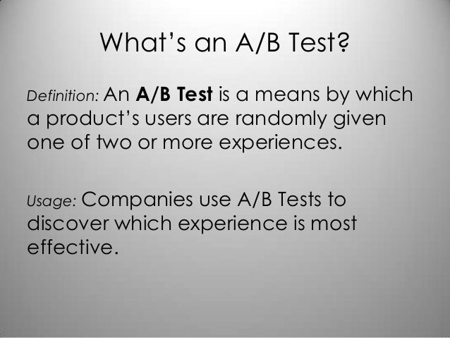 A/B Testing with Mike Greenfield Slide 2