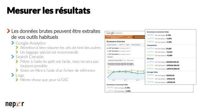 Autre test Test : amélioration technique sur l'affichage du contenu en JS sur une page produit Résultats apparemment faibl...