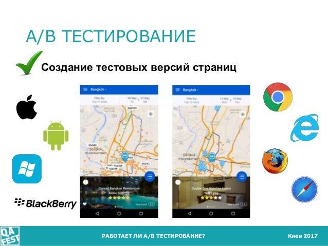 Киев 2017 A/B ТЕСТИРОВАНИЕ РАБОТАЕТ ЛИ A/B ТЕСТИРОВАНИЕ? Создание тестовых версий страниц