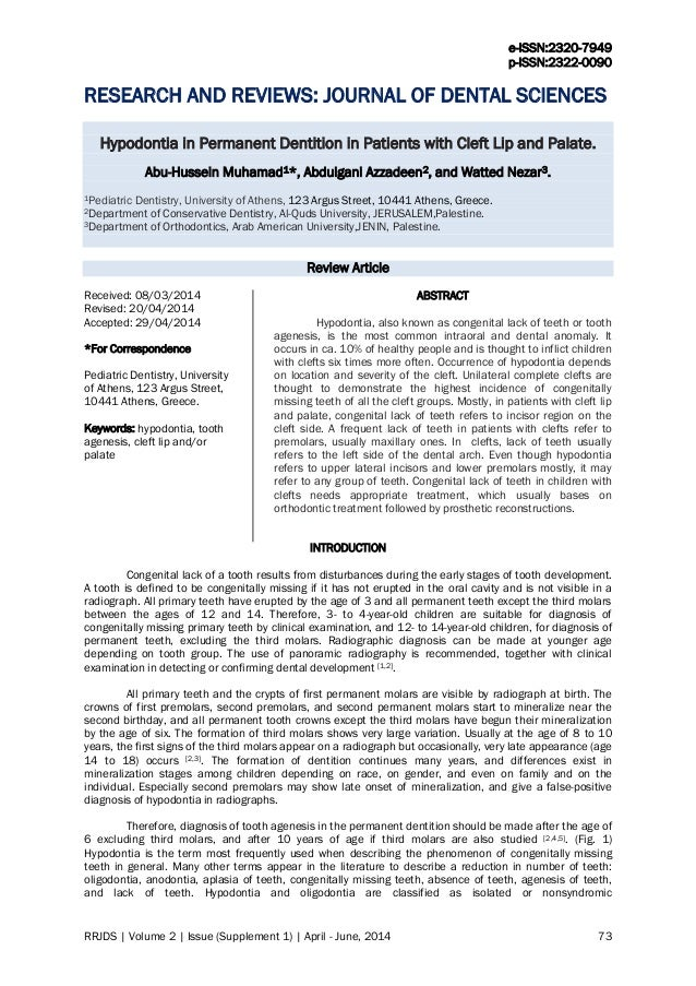 e-ISSN:2320-7949 p-ISSN:2322-0090 RRJDS | Volume 2 | Issue (Supplement 1) | April - June, 2014 73 RESEARCH AND REVIEWS: JO...