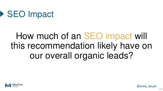 @areej_abuali 100 How much of an SEO impact will this recommendation likely have on our overall organic leads? SEO Impact