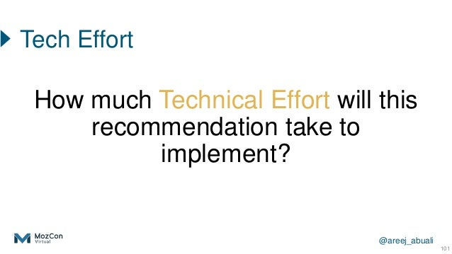 @areej_abuali 101 How much Technical Effort will this recommendation take to implement? Tech Effort